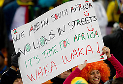 Fan of South Africaprior to the 2010 FIFA World Cup South Africa Quarter Finals football match between Uruguay and Ghana on July 02, 2010 at Soccer City Stadium in Sowetto, suburb of Johannesburg. Uruguay defeated Ghana after penalty shots. (Photo by Vid Ponikvar / Sportida)