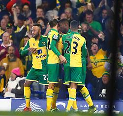 Sebastien Bassong of Norwich City celebrates after scoring the opening goal - Mandatory byline: Matt McNulty/JMP - 07966 386802 - 27/10/2015 - FOOTBALL - Goodison Park - Liverpool, England - Everton v Norwich City - Capital One Cup