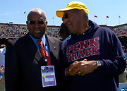 IAAF President Lamine Diack (left) and Bill Cosby at the 110th Penn Relays at the University of Pennsylvania's Franklin Field on Saturday, April 24, 2004 in Philadelphia.