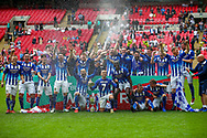 Chertsey Town celebrate winning the FA Vase final match between Chertsey Town and Cray Valley at Wembley Stadium, London, England on 19 May 2019.