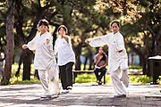 Chinese woman practices tai chi martial arts exercise early morning at the Temple of Heaven Park during summer in Beijing, China