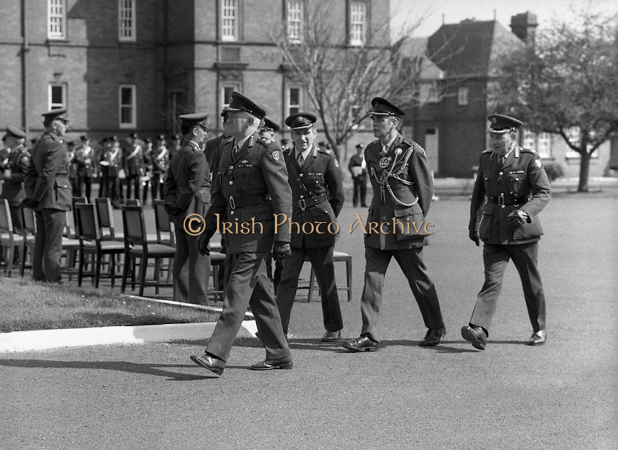 1983-04-12.12th April 1983.12-04-1983.04-12-83..Photographed at McKee Barracks, Cork..Moving into Position: ..Senior army officers move to take up their positions prior to the troop review