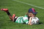 A ball girl watches the game in the Handa Premiership football match, Hawke's Bay United v Hamilton Wanderers, Bluewater Stadium, Napier, Sunday, November 15, 2020. Copyright photo: Kerry Marshall / www.photosport.nz
