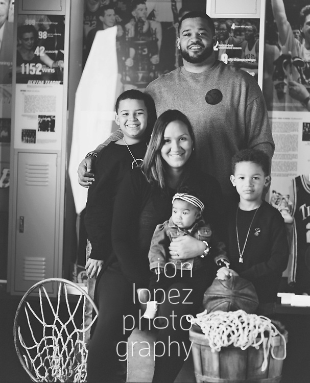 The Atkins family at the Naismith Memorial Basketball Hall of Fame. Photo by Jon Lopez / Nike.