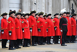 Chelsea Pensioners observe a minute's silence at Guildhall in London, ahead of the Lord Mayor's parade.
