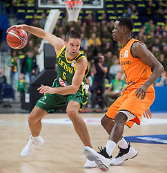 VILNIUS, Sept. 18, 2018  Mantas Kalnietis (L) of Lithuania competes during FIBA World Cup basketball qualifying match between Lithuania and Netherlands in Vilnius, Lithuania, on Sept. 17, 2018. Lithuania won 95-93. (Credit Image: © Alfredas Pliadis/Xinhua via ZUMA Wire)