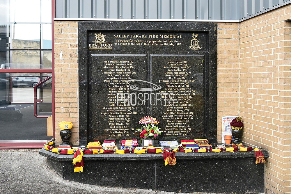 General view of Bradford Fire Memorial during the EFL Sky Bet League 2 match between Bradford City and Scunthorpe United at the Utilita Energy Stadium, Bradford, England on 1 May 2021.