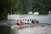 Henley. Great Britain.   Molesey Eights 40+ and 50+ 175th  Henley Royal Regatta, Henley Reach. England. 08:21:55  Sunday  06/07/2014. [Mandatory Credit; Intersport-images] <br /> <br /> Crews 40's Bow, Dan RITCHIE, James WRIGHT, Jonny SEARLE, Guy POOLEY, Alex Partridge, Mike BLOMQUIST, Simon FIELDHOUSE, Dave GILLARD, Neil CHUGANI,<br /> <br /> 50's Richard STANHOPE, Martin CROSS, Malcolm MCGOWAN, Joe MICHELS, Jean CHRISTOPHE-ROLLAND, Matt PINSENT, Ian MCNUFF, Diederik SIMON cox Gary HERBERT