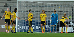 October 9, 2018 - Biel, SWITZERLAND - Belgian players looks dejected during a soccer game between Switzerland and Belgium's national team the Red Flames, Tuesday 09 October 2018, in Biel, Switzerland, the return leg of the play-offs qualification games for the women's 2019 World Cup. BELGA PHOTO DAVID CATRY (Credit Image: © David Catry/Belga via ZUMA Press)