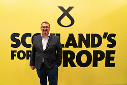 Edinburgh, Scotland, UK. 27 April, 2019. SNP ( Scottish National Party) Spring Conference takes place at the EICC ( Edinburgh International Conference Centre) in Edinburgh. Pictured; SNP candidate in upcoming European elections former MSP Christian Allard  at the conference