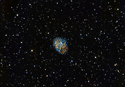 The Crab Nebula (Messier 1) in constellation Taurus photographed with Narrowband (Ha, OIII, SII) filters.