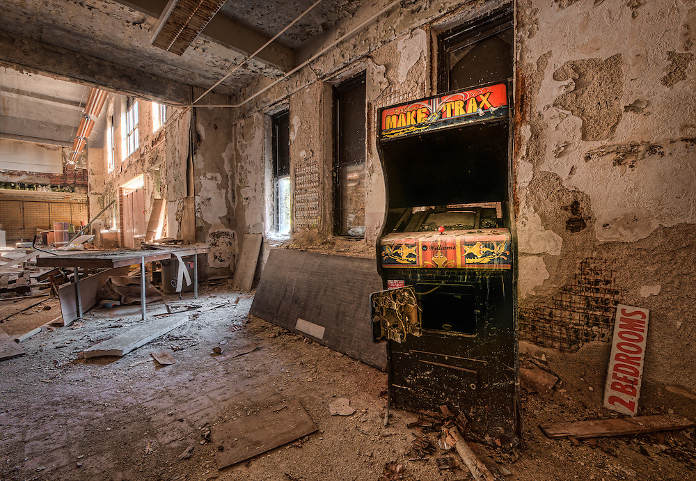 An abandoned video game console sits inside an old garage inside Chanute Air Force Base near Rantoul IL.
