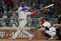 May 15, 2018 - Atlanta, GA, U.S. - ATLANTA, GA Ð MAY 15:  Cubs catcher Willson Contreras (40) drives a ball to the outfield during the game between Atlanta and Chicago on May 15th, 2018 at SunTrust Park in Atlanta, GA. The Chicago Cubs defeated the Atlanta Braves by a score of 3 -2.  (Photo by Rich von Biberstein/Icon Sportswire) (Credit Image: © Rich Von Biberstein/Icon SMI via ZUMA Press)