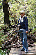 Wellington New Zealand, Dry Creek Quarry Lord of The Rings filming location. Rivendell, city of the elves. Elf with bow and arrow