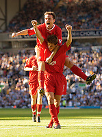 Photo. Jed Wee.<br /> Blackburn Rovers v Liverpool, FA Barclaycard Premiership, Ewood Park, Blackburn. 13/09/2003.<br /> Liverpool's Vladimir Smicer (top) and Harry Kewell celebrate after Kewell's goal makes the game safe for Liverpool.