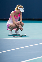 March 18, 2019 - Miami Gardens, FL, U.S. - MIAMI GARDENS, FL - MARCH 18: Mona Barthel (GER) in action during the Miami Open on March 18, 2019 at Hard Rock Stadium in Miami Gardens, FL. (Photo by Aaron Gilbert/Icon Sportswire) (Credit Image: © Aaron Gilbert/Icon SMI via ZUMA Press)