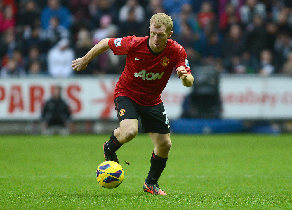 Manchester United's Paul Scholes in action during todays match  ..Football - Barclays Premiership - Swansea City v Manchester United - Sunday 23rd December 2012 - The Liberty Stadium - Swansea..