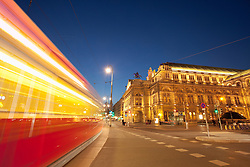Tram night movement blur motion Vienna opera house