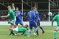 Nathan Collins of Republic of Ireland (5) scores, but goal is disallowed for offside during the UEFA European Under 17 Championship 2018 match between Bosnia and Republic of Ireland at Stadion Bilino Polje, Zenica, Bosnia and Herzegovina on 11 May 2018. Picture by Mick Haynes.