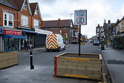 Low-traffic neighbourhood barriers put in place in Kings Heath on 20th October 2020 in Birmingham, United Kingdom. These traffic restrictions, many of which have been rushed through by local councils during the Coronavirus pandemic have created controversy in local communities, many of whom object the road closures which affect some businesses and roads adversely.