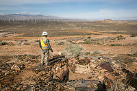 Grade checker Patrick Neisler looks out at the view from the Golden Queen Mine in Mojave. A gold and silver mine closed for 70 years is being reopened by the Golden Queen Mining Co in Mojave, CA. March 3, 2014. Photo by David Sprague