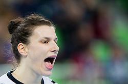 Jelena Grubisic of Krim Mercator reacts during handball match between RK Krim Mercator and CS Oltchim RM Valcea (ROU) of Women's EHF Champions League 2011/2012, on February 4, 2012 in Arena Stozice, Ljubljana, Slovenia. Valcea defeated Krim 31-25. (Photo By Vid Ponikvar / Sportida.com)