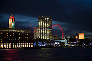Night view across the River Thames towards the Oxo Tower, the National Theatre and the London Eye on the Southbank, London, United Kingdom. The South Bank is a significant arts and entertainment district, and home to an endless list of activities for Londoners, visitors and tourists alike. (photo by Mike Kemp/In Pictures via Getty Images)