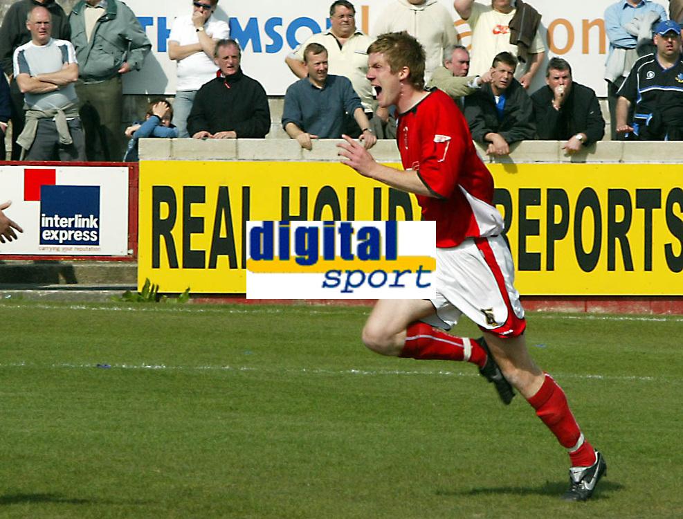 Photo: Paul Greenwood.<br />Accrington Stanley v Macclesfield Town. Coca Cola League 2. 28/04/2007.<br />Accrington's Andrew Proctor celebrates his second goal