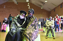 South Africa - Johannesburg - 25 June 2020 - Johanna Nyanjani, the mother of Ansia Kheha, is comforted by Arminda Machel, during  the funeral service of the three year old girl Kheha who was found murdered last week, Kheha decomposed body was found in a veld six kilometers from her home. Picture: Itumeleng English/African News Agency(ANA)
