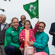 27.07.17.          <br /> Ireland Women's Rugby captain Niamh Briggs was mobbed by young fans in Limerick earlier today (Thursday) as she arrived in the city by boat for the Women's Rugby World Cup trophy tour.<br /> <br /> Pictured are left to right, Niamh Briggs, Ireland Women's Rugby captain, Sinead O'Doherty, 6, Moyross, Limerick and Deirdre O'Doherty, Moyross, Limerick.<br /> <br /> <br />  The Limerick based garda and Munster fullback was escorted on the River Shannon by Limerick Marine Search and Rescue along with Nevsail kayakers as she made her way to Arthur's Quay jetty to be officially met by Mayor of Limerick, Cllr Stephen Keary. Picture: Alan Place
