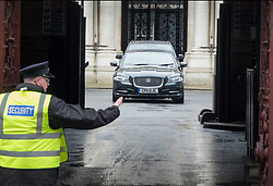© Licensed to London News Pictures. 07/03/2017. London, UK. Chancellor of the Exchequer Philip Hammond drives through the Foreign Office courtyard, where he was Foreign Secretary, as heads to Parliament to deliver his 2017 Spring Budget. Photo credit: Peter Macdiarmid/LNP