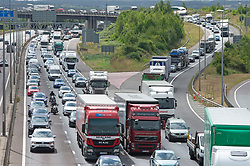 © Licensed to London News Pictures 27/08/2021. <br /> Dartford, UK. August bank holiday getaway traffic on the M25 near Dartford in Kent this afternoon, anti clock-wise towards the Dartford Crossing. Photo credit:Grant Falvey/LNP