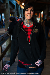 Tattoo artist Deidre Zinn at the Iron Horse Saloon. Ormond Beach, FL.  Friday, March 9, 2018. Photography by Michael Lichter. ©2018 Michael Lichter
