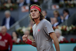 May 12, 2019 - Madrid, Madrid, Spain - Stefanos Tsitsipas from Greece seen reacting during the Mutua Madrid Open Masters final match against Novak Djokovic from Serbia on day eight at Caja Magica in Madrid..Novak Djokovic beats Stefanos Tsitsipas. (Credit Image: © Legan P. Mace/SOPA Images via ZUMA Wire)