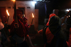 June 24, 2017 - Cirebon, East Java, Indonesia - Babakan Cirebon crowded the street to enliven the evening takbiran, torch parade and decorative lights through the streets until the corners of the village while echoing takbir, tahmid and tahlil as an expression of gratitude for the coming of Eid al-Fitr, Day of victory for Muslims. (Credit Image: © Kuncoro Widyo Rumpoko/Pacific Press via ZUMA Wire)