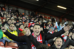 Spectator celebrates at the Johnstone's Paint Trophy south area final second leg match between Bristol City and Gillingham at Ashton Gate on 29 January 2015 in Bristol, England - Photo mandatory by-line: Paul Knight/JMP - Mobile: 07966 386802 - 29/01/2015 - SPORT - Football - Bristol - Ashton Gate Stadium - Bristol City v Gillingham - Johnstone's Paint Trophy