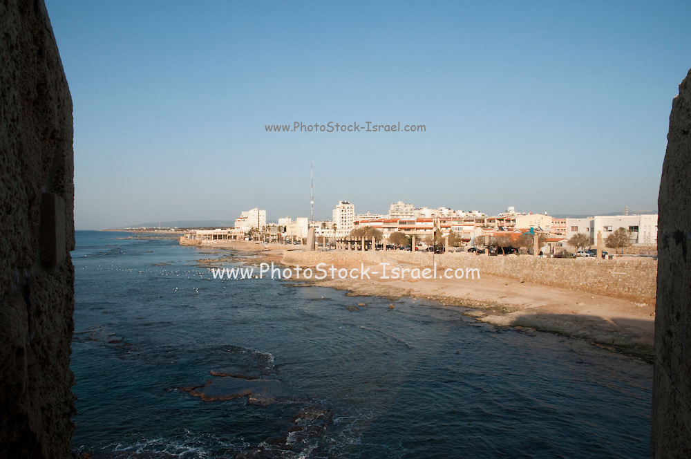 Israel, Western Galilee, Modern Akko as seen from the walls of the old city