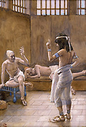 Joseph Interpreteth [Interprets] the Dreams While in Prison Gouache paint on cardboard by James Tissot  1896-1902