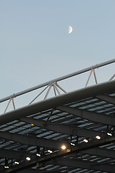 A general view of the American Express stadium with the moon over top - Mandatory byline: Dougie Allward/JMP - 07966 386802 - 20/10/2015 - FOOTBALL - American Express Community Stadium - Brighton, England - Brighton v Bristol City - Sky Bet Championship