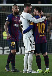 February 6, 2019 - Barcelona, Spain - Leo Messi and Sergio Ramos during the match between FC Barcelona and Real Madrid corresponding to the first leg of the 1/2 final of the spanish cup, played at the Camp Nou Stadium, on 06th February 2019, in Barcelona, Spain. (Credit Image: © Joan Valls/NurPhoto via ZUMA Press)