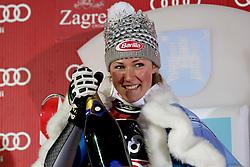 04.01.2013, Crveni Spust, Zagreb, AUT, FIS Ski Alpin Weltcup, Slalom, Damen, Podium, im Bild Mikaela Shiffrin (USA, Platz 1) // 1st place Mikaela Shiffrin of the USA celebrate on podium of the ladies Slalom of the FIS ski alpine world cup at Crveni Spust course in Zagreb, Croatia on 2013/01/04. EXPA Pictures © 2013, PhotoCredit: EXPA/ Pixsell/ Marko Prpic..***** ATTENTION - for AUT, SLO, SUI, ITA, FRA only *****