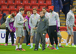 21.10.2014, Anfild, Liverpool, ESP, UEFA CL, FC Liverpool vs Real Madrid, Gruppe B, Training FC Liverpool, im Bild Liverpool's manager Brendan Rodgers and captain Steven Gerrard // during training session of Liverpool FC ahead of the UEFA Champions League Group B match between Liverpool FC and Real Madrid CF at Anfild in Liverpool, Great Britain on 2014/10/21. EXPA Pictures © 2014, PhotoCredit: EXPA/ Propagandaphoto/ David Rawcliffe<br /> <br /> *****ATTENTION - OUT of ENG, GBR*****