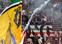 Un fumogeno viene lanciato sui tifosi della Juventus<br /> Fireworks thrown on Juventus supporters.  Before the match, Torino fans attacked the Juventus bus breaking a window<br /> Torino 26-04-2015, Stadio Olimpico, Football Calcio 2014/2015 Serie A TIM, Torino - Juventus, Foto Insidefoto