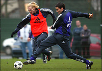 Fotball<br /> Belgia<br /> 24.11.2003<br /> Trening Anderlecht<br /> Christian Wilhelmsson og Clayton Zane<br /> Foto: Digitalsport<br /> Norway Only