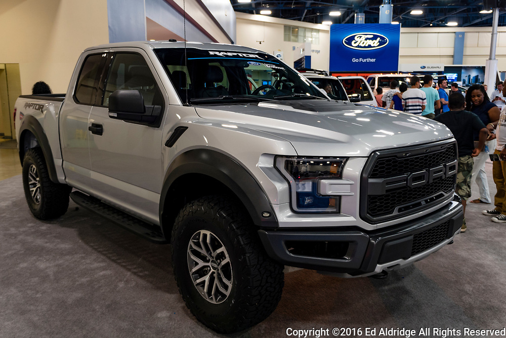 Miami, USA - September 10, 2016: Ford Raptor pickup truck on display during the Miami International Auto Show at the Miami Beach Convention Center.