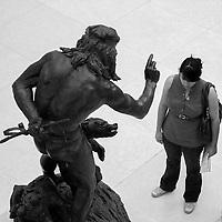 """Bohemian Bear Tamer"" by Paul Wayland Bartlett (1865–1925) at the American wing sculpture garden, Metropolitan Museum of Art, New York City"