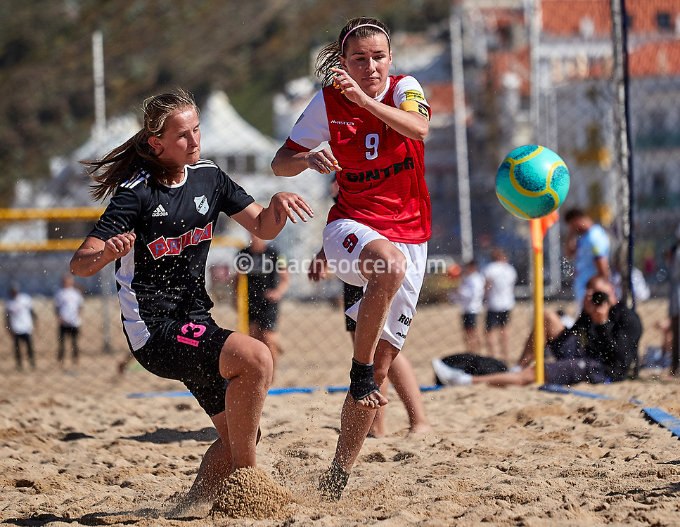 NAZARE, PORTUGAL - JUNE 7: Magdalena Szpera of Red Devils Ladies and Heidi Melis of Nomme Kalju FC during the Euro Winners Cup Nazaré 2019 at Nazaré Beach on June 7, 2019 in Nazaré, Portugal. (Photo by Jose M. Alvarez)