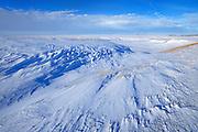 Winter landscape and patterns in snow<br /> near Willows<br /> Saskatchewan<br /> Canada