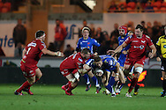 Hallam Amos of the Dragons © is stopped by Morgan Allen of the Scarlets. Guinness Pro12 rugby match, Scarlets v Newport Gwent Dragons at the Parc y Scarlets in Llanelli, West Wales on Saturday 8th October 2016.<br /> pic by  Andrew Orchard, Andrew Orchard sports photography.