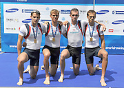 Lucerne, SWITZERLAND. GBRL M4-  Bow Paul MATTICK, Rob WILLIAMS, Richard CHAMBERS and Chris BARTLEY,  bronze medalist  men's lightweight four at the  2012 FISA World Cup II, Lucerne Regatta.  Rotsee  Rowing Course,  Sunday  27/05/2012    [Mandatory Credit Peter Spurrier/ Intersport Images]..